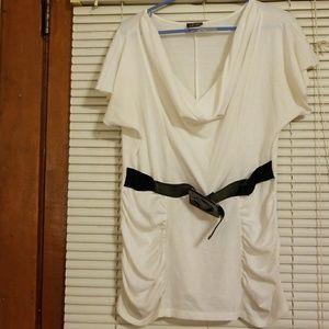 Short Sleeve Cowl Neck Shirt Size Large